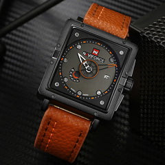 NAVIFORCE Creative Big Dial Mens Military Sports Watches Fashion Waterproof Leather Quartz Wrist Watch Clock Relogio Masculino
