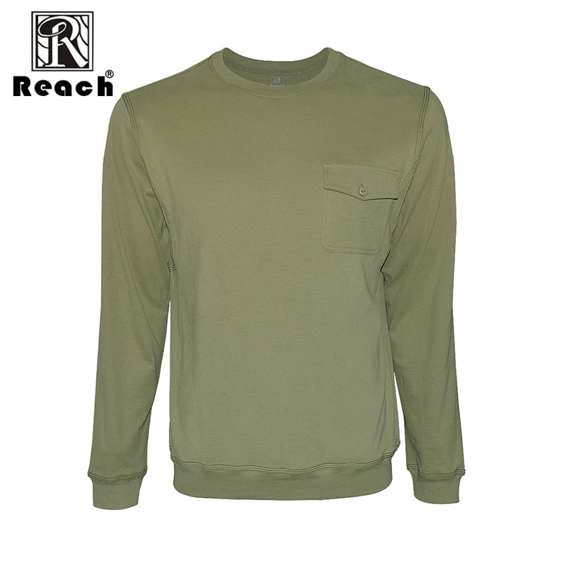 reach Tshirt Men 2018 Big Size Cotton Men T Shirts Long Sleeve Solid Color Casual With Pocket Tops Homme Autumn 7 Colors New