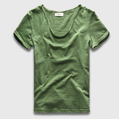 Men Basic T-Shirt Solid Cotton V Neck Slim Fit Male Fashion T Shirts Short Sleeve Top Tees 2017 Brand