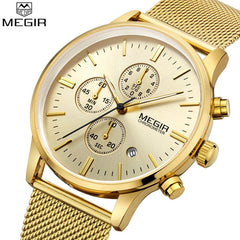 MEGIR Chronograph Men's quartz-watch stainless steel mesh band gold watch Slim men watches Multi-function sports clock relogio