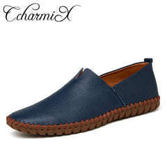 CcharmiX Genuine Cow leather Mens Loafers Fashion Handmade Moccasins Soft Leather Blue Slip On Men's Boat Shoe PLUS SIZE 38~47