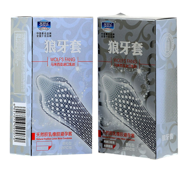24Pcs/Lot High Quality  Big Particle 3D Spike Dotted Ribbed G-Spot Latex Condoms For Men Contraceptive Condoms Adult sex toys
