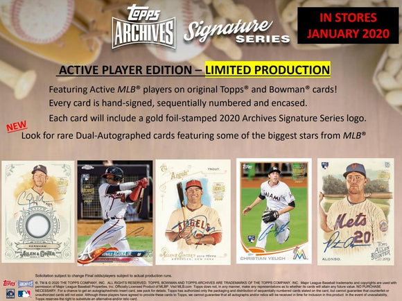 2019 Topps Archives Active Signature Series Baseball Hobby Box