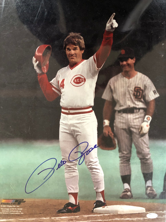Pete Rose 16x20 Signed Baseball Photo JSA COA