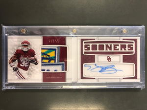 Samaje Perine 2017 National Treasures Collegiate Autograph Jersey Patch Booklet 1/5