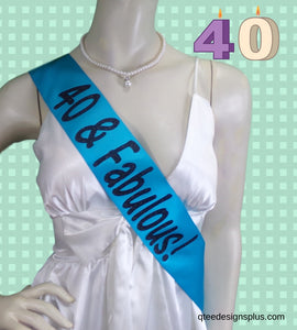 40 & fabulous turquoise sash with black glitter
