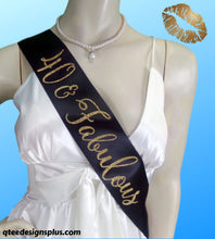 Load image into Gallery viewer, 40 & fabulous black sash with no flake gold glitter