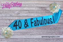 Load image into Gallery viewer, 40 & fabulous turquoise sash with black glitter