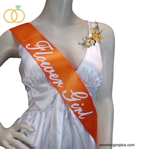 orange flower girl sash