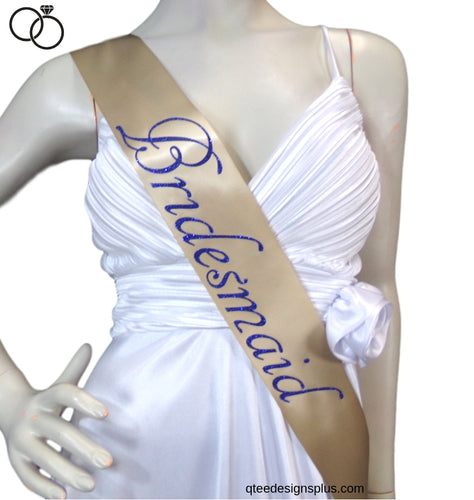 Bridesmaid White Satin Sash With Royal Blue Glitter