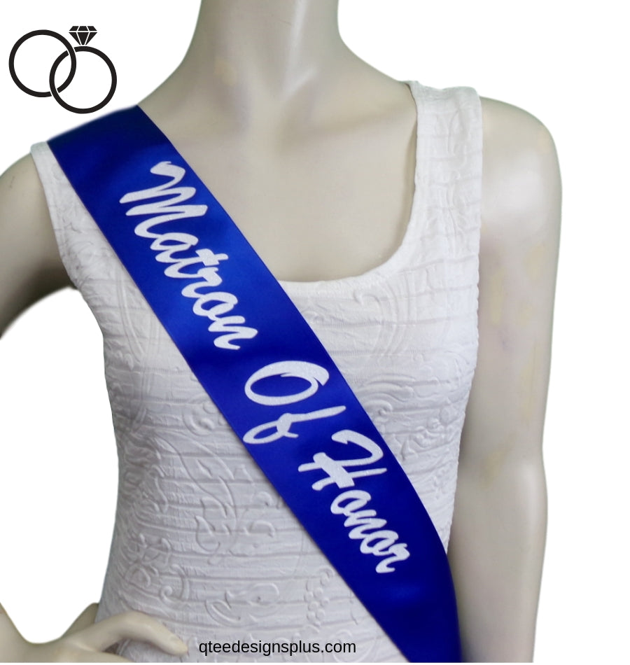 Matron of honor royal blue sash