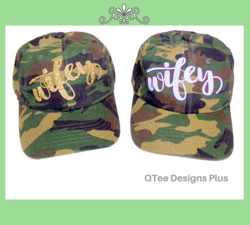 Wifey Camo Hat With Glitter Print