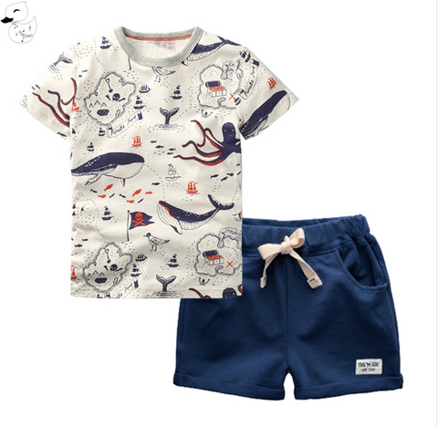 William - whale print shorts set