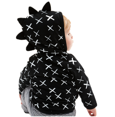 JAMES - Black monochrome dino hoody