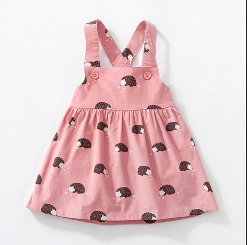 Rosemary - Hedgehog pinafore dress