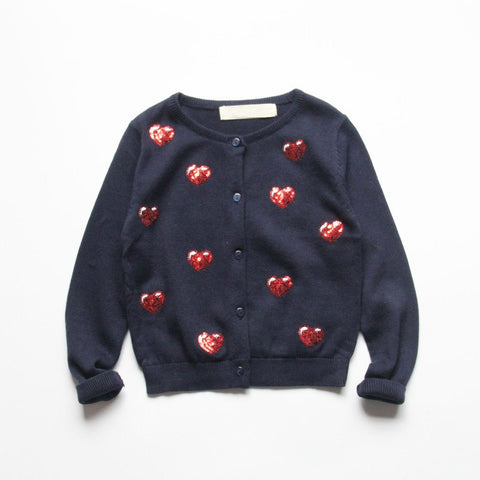 Dinah - Sequin Heart Cardigan
