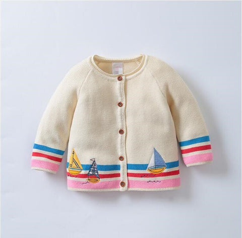 Adalyn - Cardigan with sailing boat design