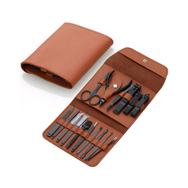 16-in-1 Leather Manicure Kit - Brown
