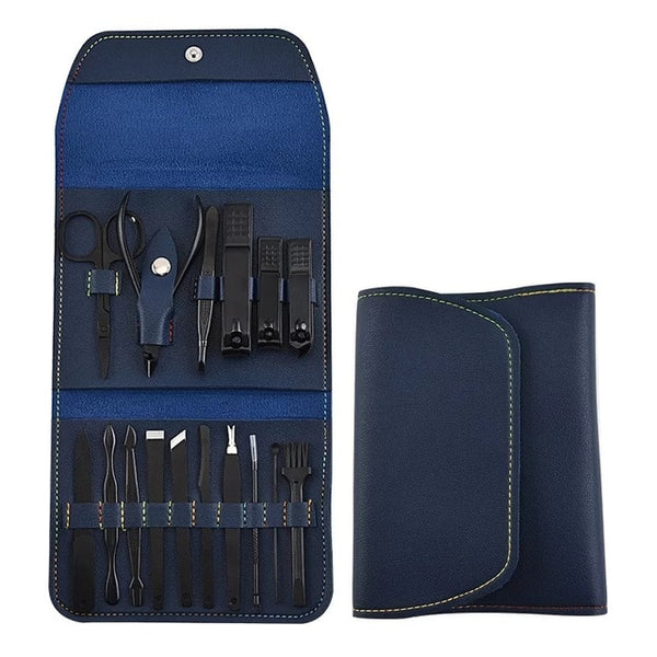 16-in-1 Leather Manicure Kit - Blue