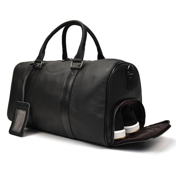 Leather Duffel Bag Black (45Cm)