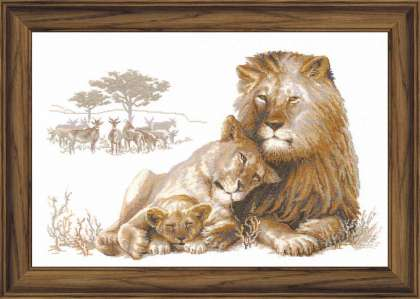 Premium Riolis Cross Stitch - Lion's Paradise