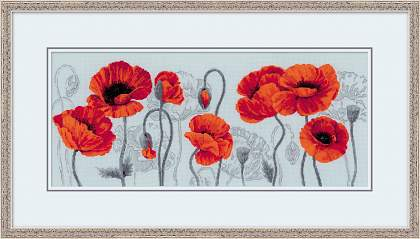 Premium Riolis Cross Stitch - Scarlet Poppies
