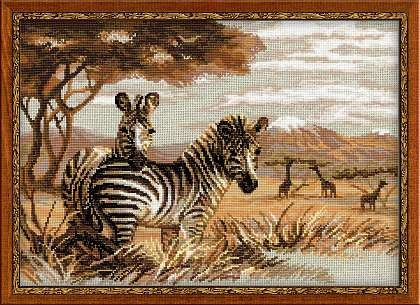 Riolis Cross Stitch - Zebras in the Savannah