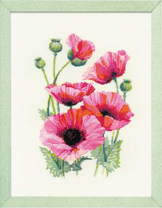 Riolis Cross Stitch - Pink Poppies