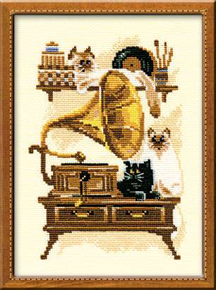 Riolis Cross Stitch - Cat with Gramaphone
