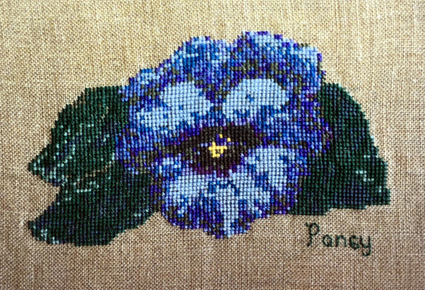 Uniquely Yours Blue Pansy Cross Stitch Chart