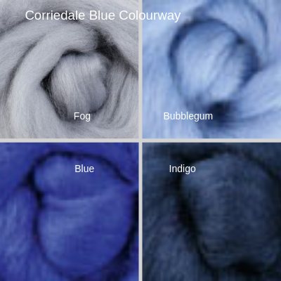 Corriedale Four Pack - Blue