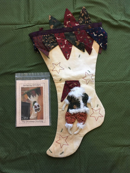 Completed Santa Sack plus pattern by Gathering Stitchers