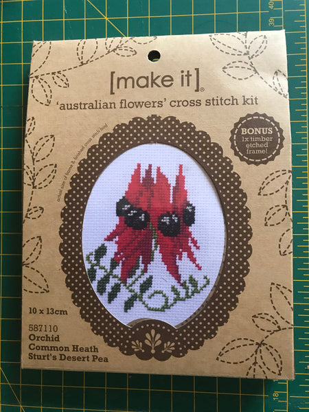 Australian Flowers Cross Stitch Kit with wooden frame