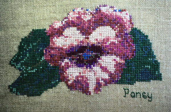 Uniquely Yours Pink Pansy Cross Stitch Chart