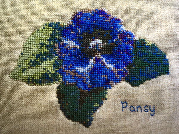 Uniquely Yours Purple Pansy Cross Stitch Chart