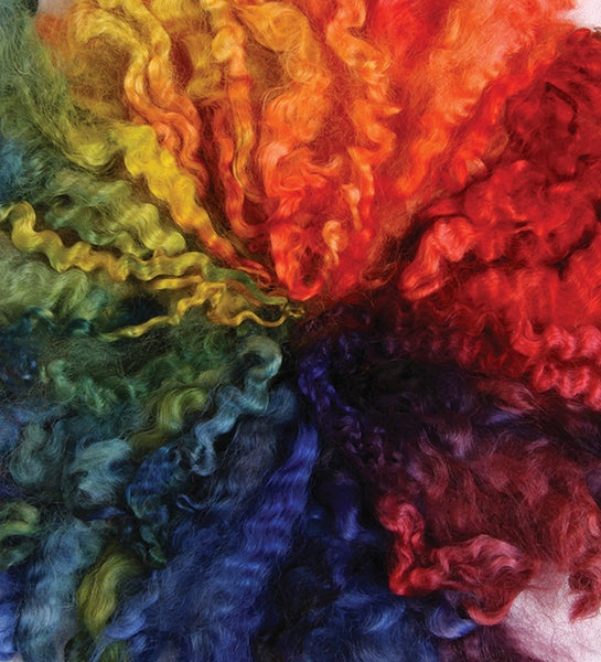 Rainbow Dyed English Leicester Wool Top 100g bags