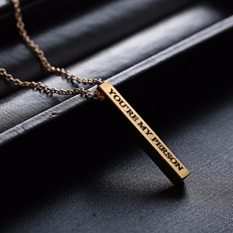 Engraved Personalized Square Bar Custom Name Necklace - Regal Collective