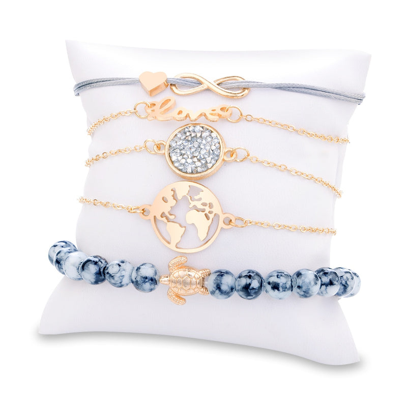 5PC Charm Boho Crystal Stone Infinite Chain Bracelet - Regal Collective