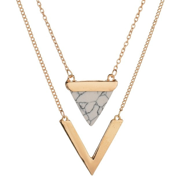 Triangle Faux Marble Stone Necklace - Regal Collective
