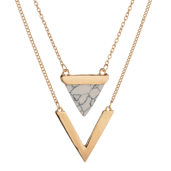 Triangle Faux Marble Stone Necklace