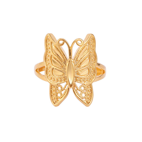 24K Yellow Gold Filled Big Butterfly Ring