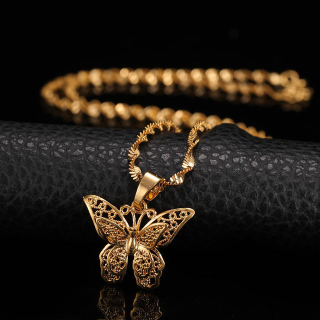 24K Yellow Gold Filled Butterfly Necklace