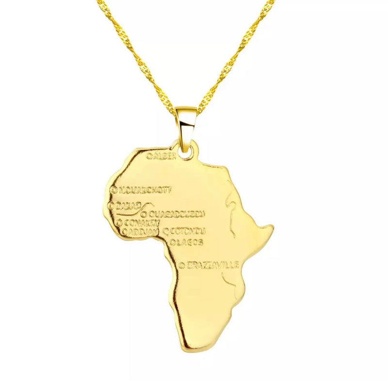 Africa Map Necklace - Regal Collective