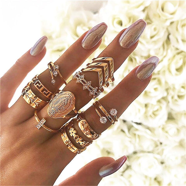 Golden Mary Ring Set - Regal Collective