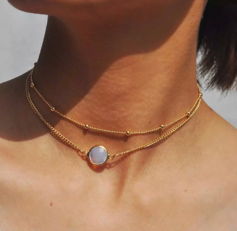 Crystal Layer Choker Opal Stone