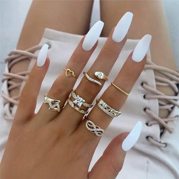 Crystal Snake Ring Set - Regal Collective
