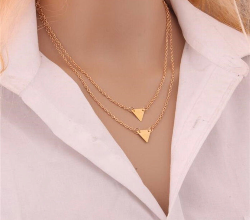 Double Triangle Golden Necklace - Regal Collective