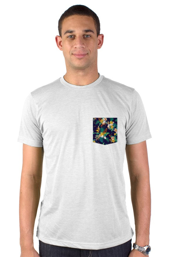 Tropical Leaves N Pineapples on Navy Pocket T-Shirt in White