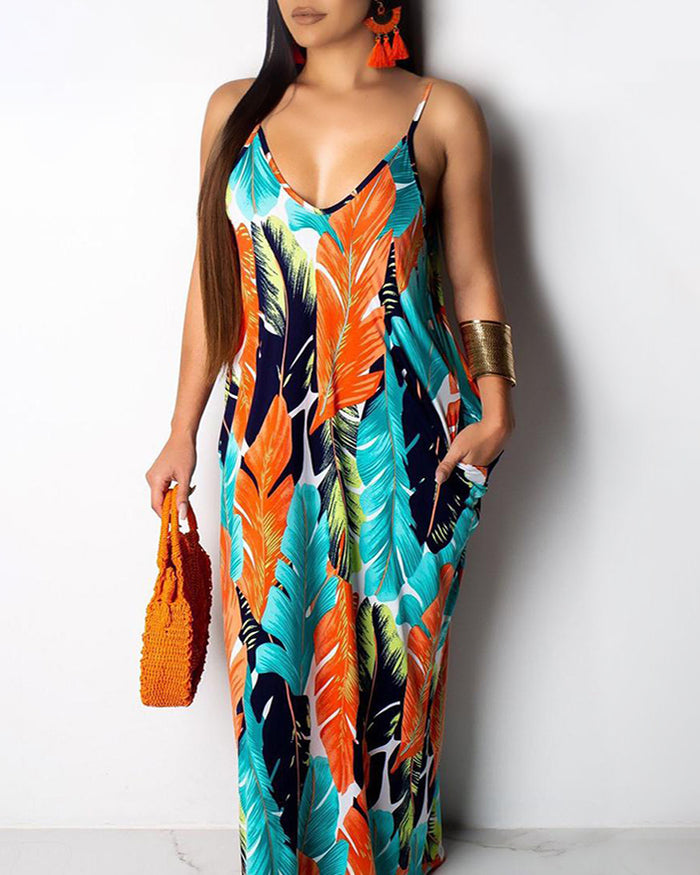 Tangerine Palms Pocket Maxi Dress