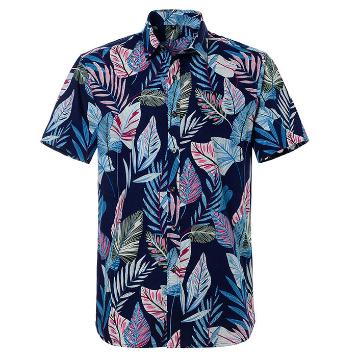 Blue N Purple Tropical Print Button Up